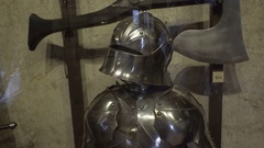 Small child Knight steel armor and helmet on display, royal castle, Prague Stock Footage