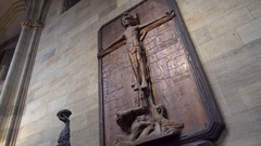 Wooden crucified Jesus, Saint Vitus Cathedral, Prague Castle, Czech Republic Stock Footage