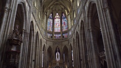 Beautiful stained glass and high ceilings, Saint Vitus Cathedral, Prague Castle Stock Footage