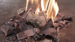 Burning Money Fire Overspending, Taxes, Debt Stock Footage