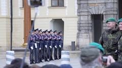 Guards stand at changing the Royal Guard ceremony, Prague, Czech Republic Stock Footage