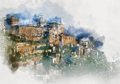 Digital watercolor painting of Gordes village. France Stock Illustration
