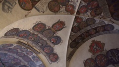Hall of the Knights, royal family palace, ceiling with symbols, Prague Stock Footage