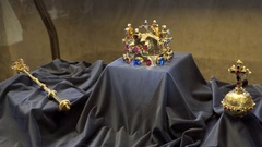 Royal family king crown jewels, Prague Castle, Czech Republic Stock Footage