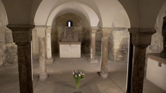 Pillar crypt grave, Basilica of St George chapel, Prague Castle, Czech Republic Stock Footage