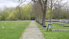 Theresienstadt Jewish cemetery, wall stone memorial, Terezin, Czech R. Stock Footage