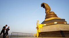 December 9, 2016 : Time Lapse - Yard serpent spit water on the Mekong River Stock Footage