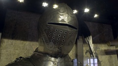 Knight steel helmet armor on display, royal family castle, Prague, Czech R. Stock Footage