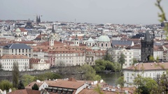 View of Prague cityscape skyline, orange roof, cathedral, church Stock Footage