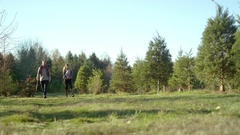A young family walking through a Christmas tree farm, man carrying a saw Stock Footage