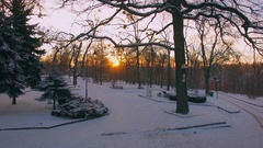 Aerial winter sunrise at small town Stock Footage