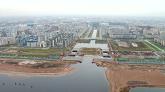 Aerial shot of tunnel multi lane highway under big river on the background of Stock Footage