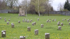 Theresienstadt Jewish cemetery, stone memorial, Terezin, Czech Republic Stock Footage