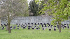 Theresienstadt Jewish cemetery, black tombstones, Terezin, Czech Republic Stock Footage