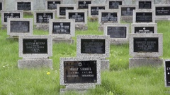 Black tombstones, Jewish names, Theresienstadt Jewish cemetery, Terezin Stock Footage