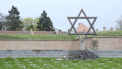 Theresienstadt camp memorial cemetery victims graves, Jewish star, Terezin Stock Footage