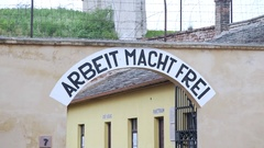 Arbeit macht frei, work sets you free, Nazi Theresienstadt concentration camp Stock Footage
