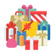 Pile of present boxes, flat design vector Stock Illustration