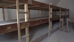 Bunk beds, Theresienstadt concentration camp, Terezin, Czech Republic Stock Footage