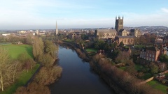 Low aerial view over the River Severn in Worcester, UK. Stock Footage