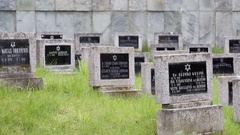 Black tombstones, Theresienstadt Jewish cemetery, Terezin, close up Stock Footage