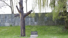 Tree of Jewish children, planted 1943, Terzin Jewish cemetery Memorial Stock Footage