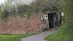 Entrance exit into underground tunnel system, Theresienstadt camp, Terezin Stock Footage