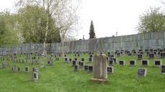 Black tombstones, Theresienstadt Jewish cemetery, green grass, Terezin Stock Footage