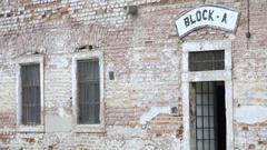 Block A building, Theresienstadt concentration camp, Terezin, Czech Republic Stock Footage