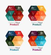 Set of business hexagon layouts with text and options Stock Illustration