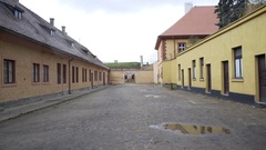 Arbeit macht frei, work sets you free, Theresienstadt camp entrance Stock Footage