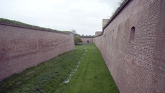 Brick wall fortification moat, Theresienstadt concentration camp fortress Stock Footage