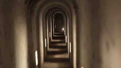 Inside dark Theresienstadt concentration camp tunnel, Terezin, Czech Rep. Stock Footage