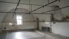 Showers, Theresienstadt concetration camp, Terezin, Czech Republic Stock Footage
