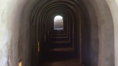 Light at the end of tunnel, Theresienstadt concentration camp stairs, Terezin Stock Footage