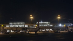 Taxi across Ataturk International Airport terminal, nighttime, Turkey Stock Footage