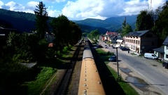 YAREMCHE, UKRAINE - August 25: Train arrives at the station Yaremche. Stock Footage
