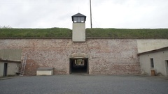 Guard watchtower, 4th courtyard, Theresienstadt concentration camp, Terezin Stock Footage