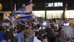 Israeli flags waved, Ultra right wing settlers protest, Rabin Square, Tel Aviv Stock Footage