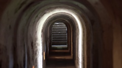 Stairs at end of tunnel, Theresienstadt concentration camp, Terezin, Czech R. Stock Footage