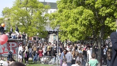 Crowd of people on 1st of May, labor day, Gorlitzer Park, Berlin, Germany Stock Footage