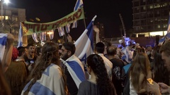 Ultra right wing racist protest, Israeli flags, Rabin Square, Tel Aviv, Israel Stock Footage