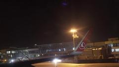 Turkish Airways flight lands at Ataturk International Airport, terminal at night Stock Footage