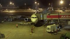 Airplane at terminal gate, prepare for departure, Turkish airways, Turkey Stock Footage