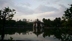 Pavilion at Taichung or Chungshan Park at sunset Stock Footage