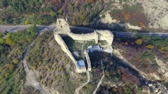 Ruins of an old fortress on Kutaisi hill near Mtskheta Stock Footage