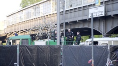 German police officers watchtower, closed area barrier, 1st of May, Berlin Stock Footage