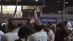 Ultra right wing religious settlers protest, Israeli flags, Rabin Square Stock Footage