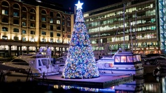 Floating Christmas tree between boats zoomout time lapse Stock Footage