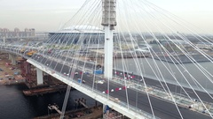 Aerial view of modern Cable stayed bridge across the Neva as a part of WHSD on Stock Footage